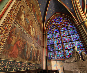 notre dame, paris, and stained glass image