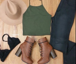 hat, jeans, and summer outfit image