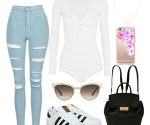 adidas, jeans, and Polyvore image