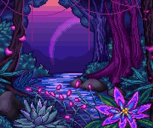 flowers and pixel image