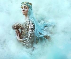 art, blue hair, and foggy image