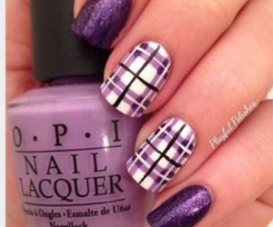 nail art, plaid, and purple image
