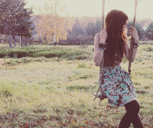 girl, swing, and vintage image