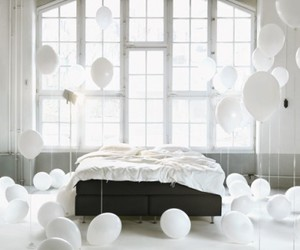balloons, bed, and white image
