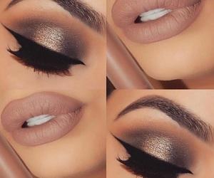 eyebrows, gold eyeshadow, and matte lips image