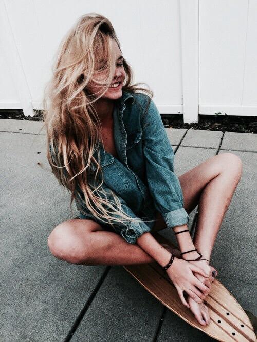 girl, blonde, and denim image