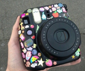 camera, sticker, and black image