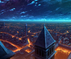 anime, city, and scenery image