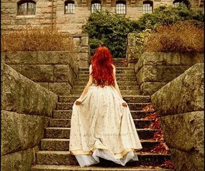 dress, red hair, and princess image