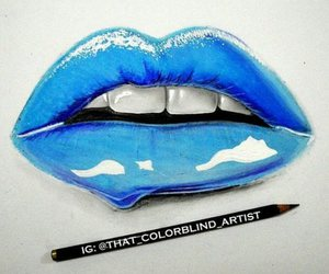 drawing, blue, and lips image