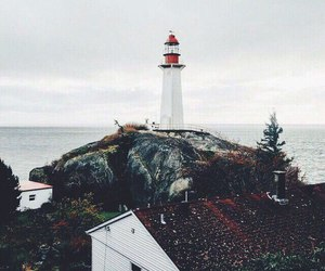 lighthouse, nature, and sea image