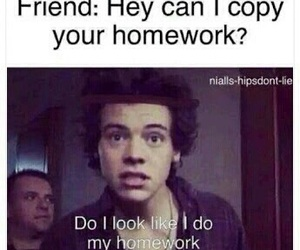 Harry Styles, homework, and funny image
