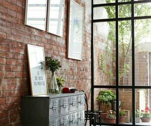 home, interior, and brick image