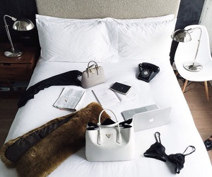 fashion, bed, and white image
