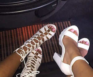 high heels, white shoes, and white high heels image