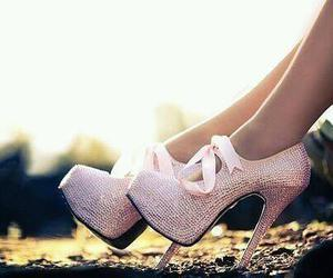 beauty, woman, and shoes image