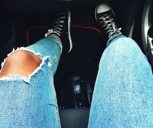 black converse, hightops, and jeans image