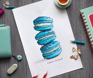 art, blue, and ‎macarons image