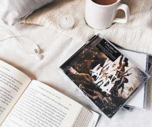 book, coffee, and coldplay image