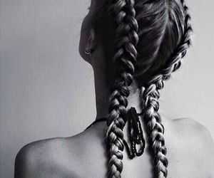 braids, long hair, and hair image