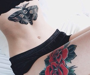 aesthetic, under boob tattoo, and chest piece image