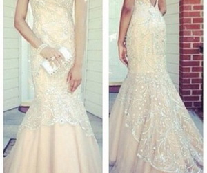 evening dress, lace, and mermaid dress image