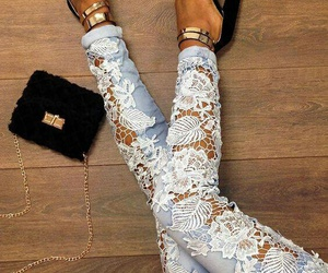 jeans, lace, and outfit image