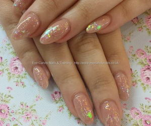 acrylic nails, glitter nails, and nude nails image