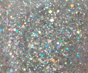 glitter, silver, and holographic image