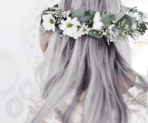 hair, flowers, and grey image