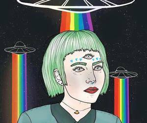 alien, rainbow, and grunge image