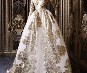 dress, beauty, and gold image