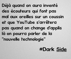 dark side, french, and youtube image