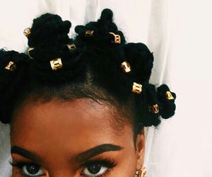 hair, bantu knots, and black image
