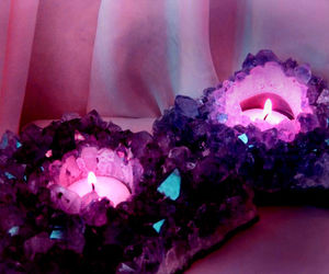candle, crystal, and purple image