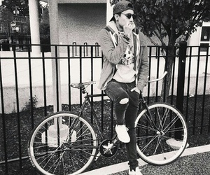 bike, black and white, and boy image