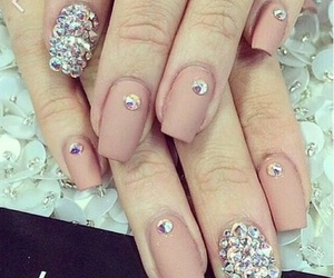 nails, pink, and diamonds image