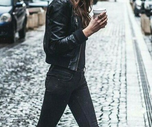 coffee, love it, and leather jacket image