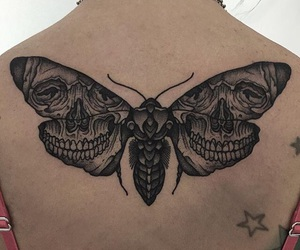 black, tattoo, and butterfly image