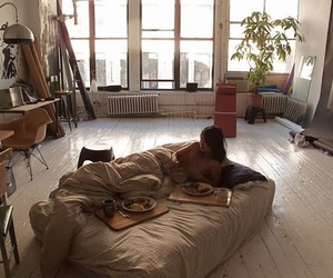 room, bed, and apartment image