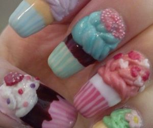 nails, cupcake, and nail art image