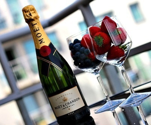 champagne, strawberry, and luxury image