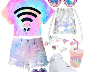 alien, pastel, and tie dye image