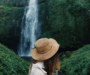 girl, waterfall, and green image