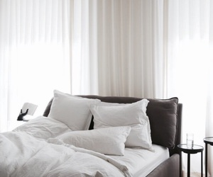 bed, interior, and white image