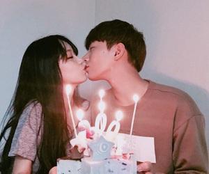 asian, couple, and kiss image