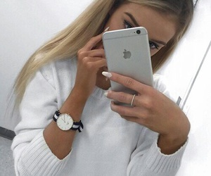 girl, iphone, and blonde image