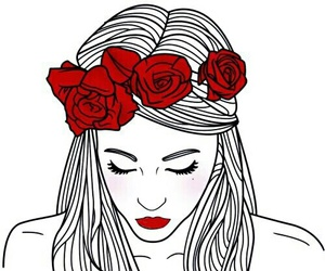 girl, outline, and flowers image