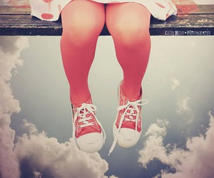 red, sky, and sneakers image