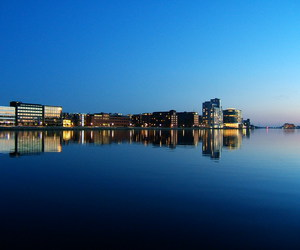 blue, skyline, and water image